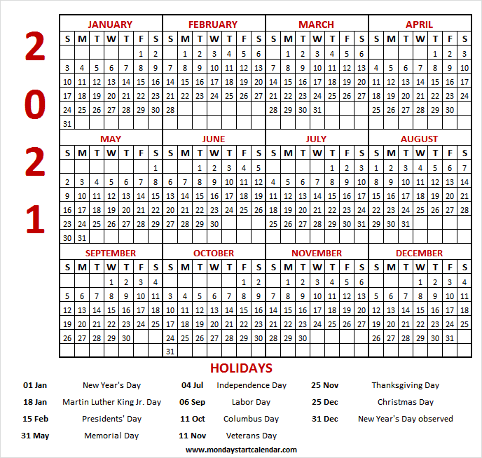 2021 Calendar Holidays and Observances