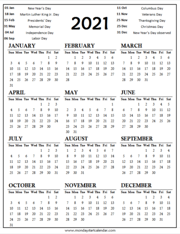 2021 Calendar USA with Holidays