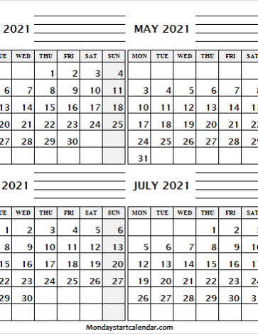 Apr to Jul 2021 Calendar with Notes
