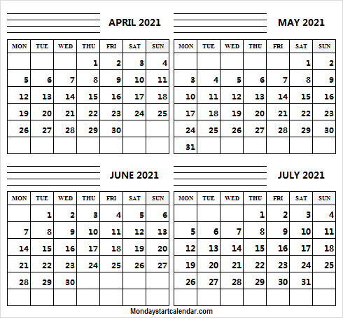 April to July 2021 Calendar Notes
