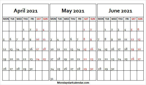April to June 2021 Calendar Monday to Friday
