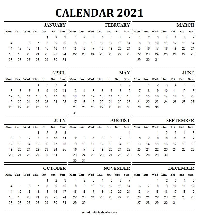 Calendar 2021 One Page