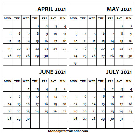 Calendar Apr to 2021 Jul Blank