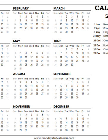 Customizable Printable Calendar 2021 Uk