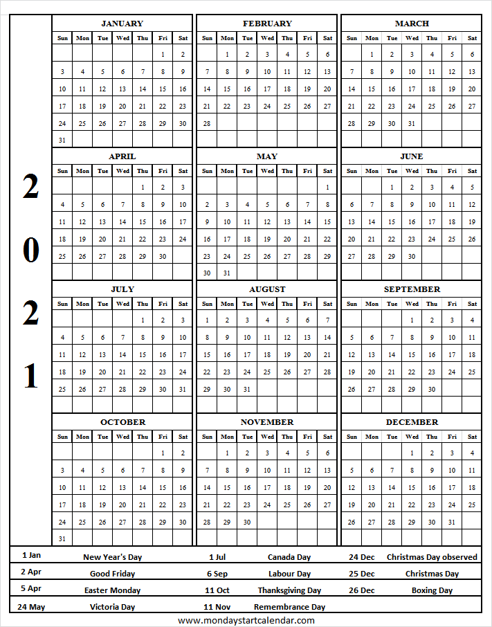 Free Printable Year Planner 2021 Canada