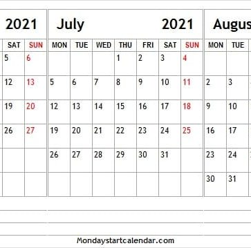 June to August 2021 Cute Calendar