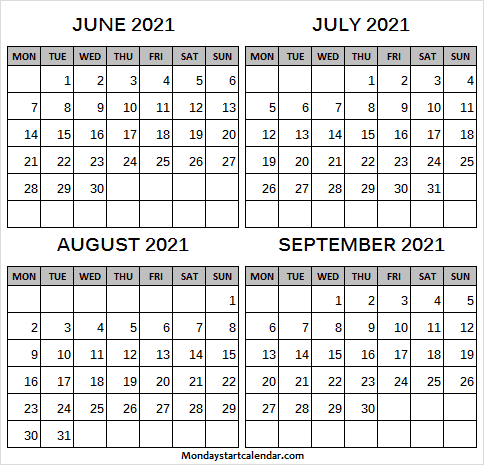 June to September 2021 Calendar Free