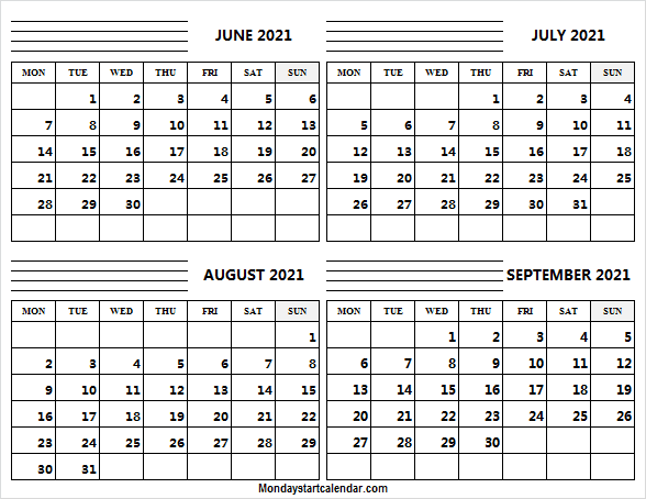 June to September Calendar 2021 With Notes