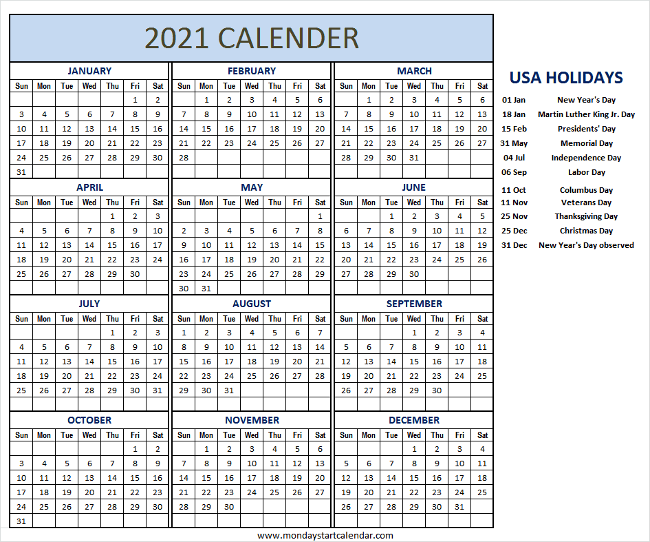 Printable 2021 Calendar Holidays