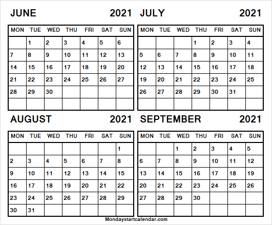 Printable Calendar Jun to Sep 2021