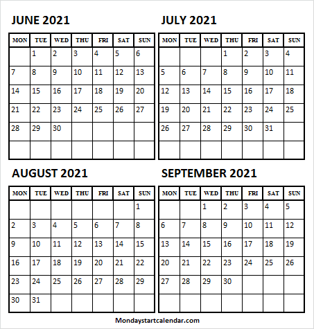 Printable Calendar June to September 2021