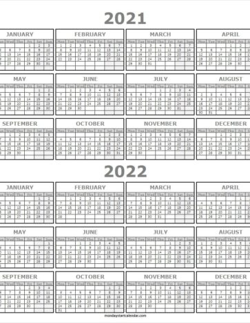 2021 And 2022 School Calendar Free Printable