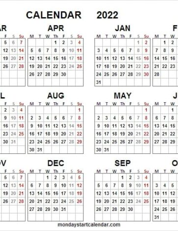 2021 to 2022 Academic Calendar Printable
