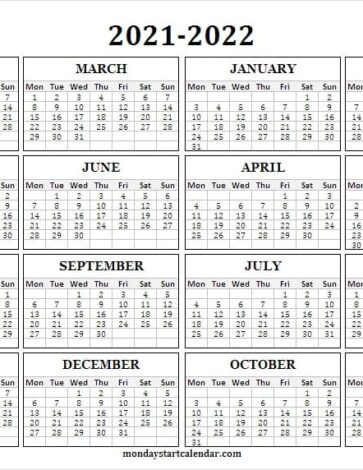 2021 to 2022 School Calendar Black And White