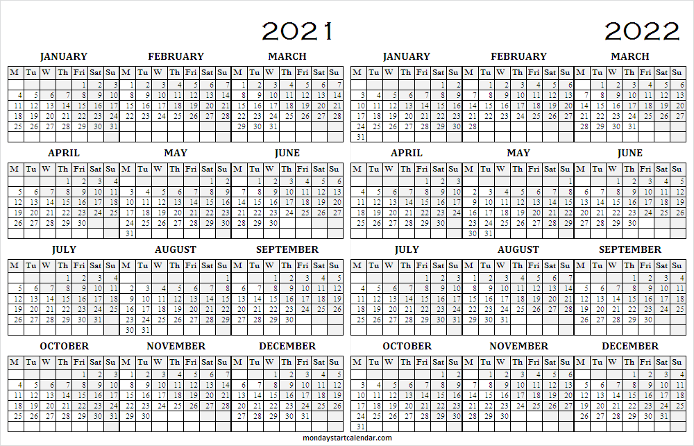 2021 to 2022 School Calendar Template Free