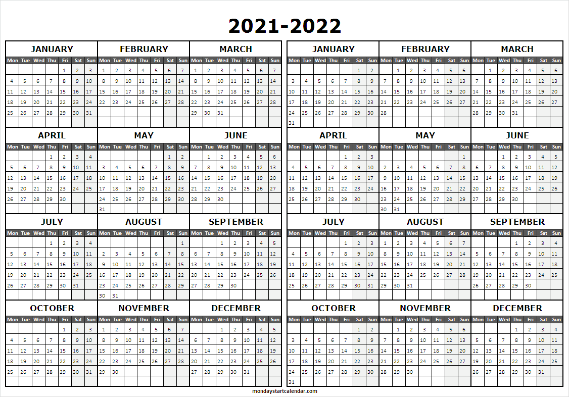 Two Year Calendar 2021 to 2022
