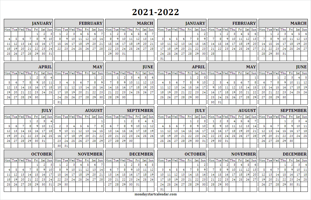 Yearly Calendar 2021 to 2022