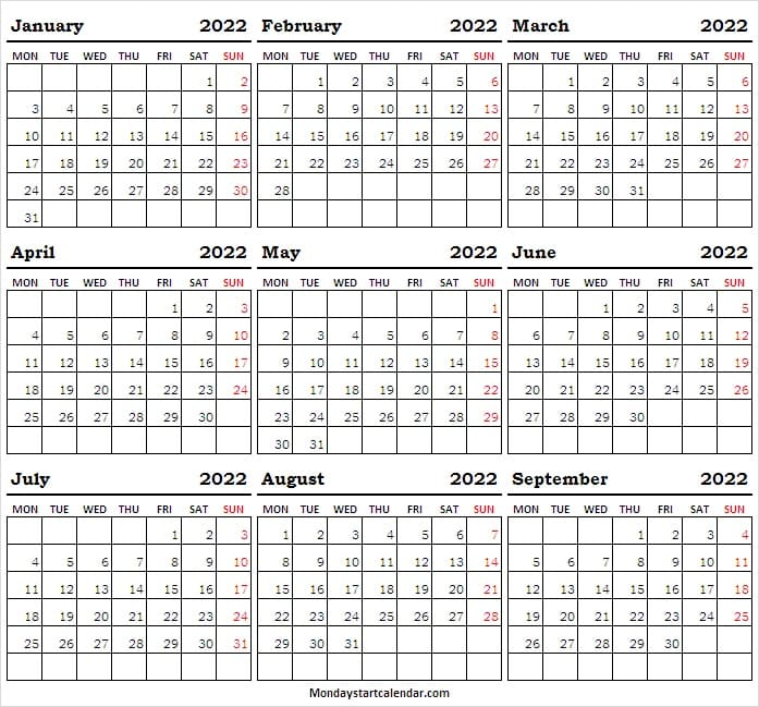 Calendar 2022 Jan to Sep Blank