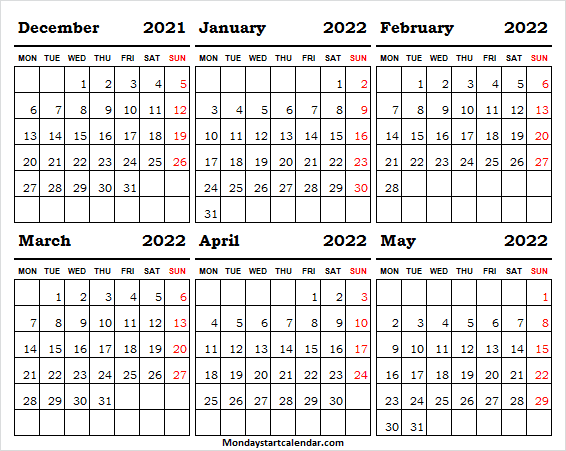 Calendar December 2021 to May 2022 Printable Planner