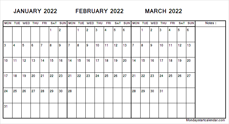Calendar January to March 2022 with Notes