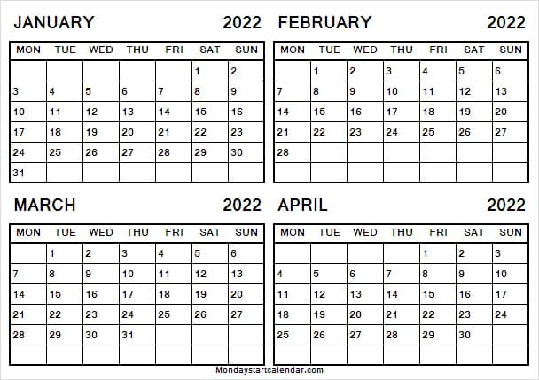 Jan to Apr 2022 Calendar with Notes