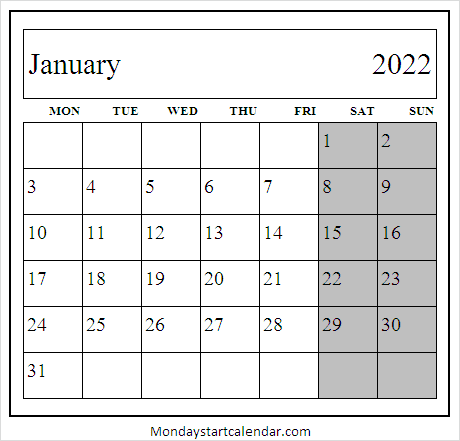 January 2022 Calendar Mon to Fri