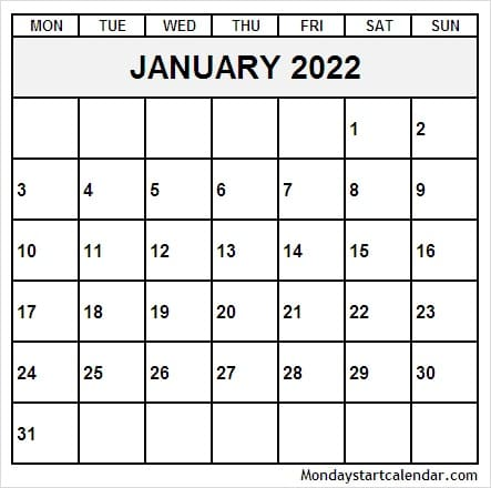 January 2022 Calendar Vertical