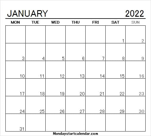 January 2022 Calendar with Dates