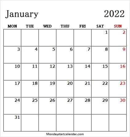 January Calendar 2022 Canada with Holidays