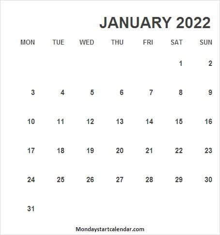 January Calendar 2022 United Kingdom