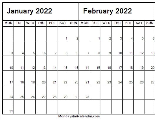 January February 2022 Calendar with Dates