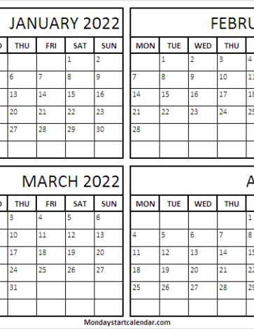 January to April 2022 Calendar Printable Template