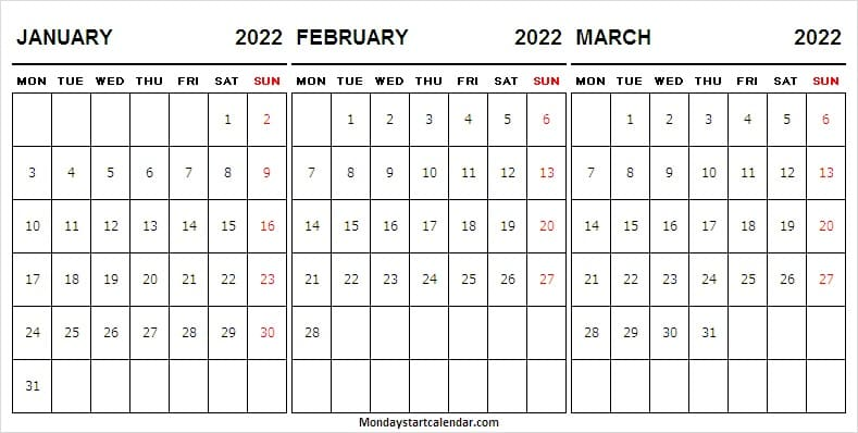 January to March 2022 Calendar Free