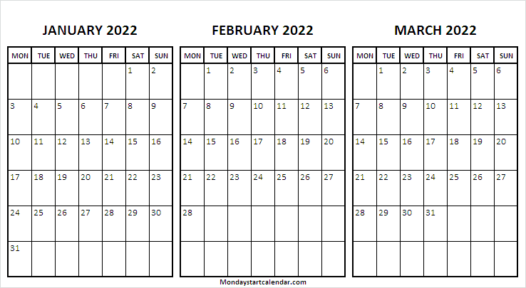 January to March 2022 Calendar Page
