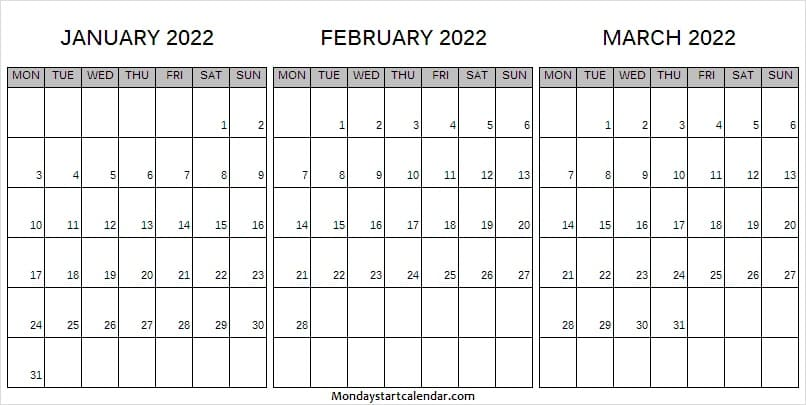 January to March 2022 Calendar Printable