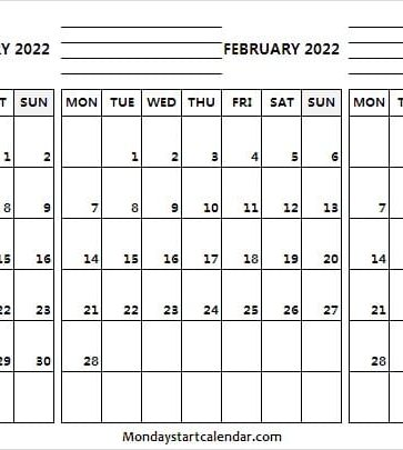 January to March 2022 Calendar Vertical