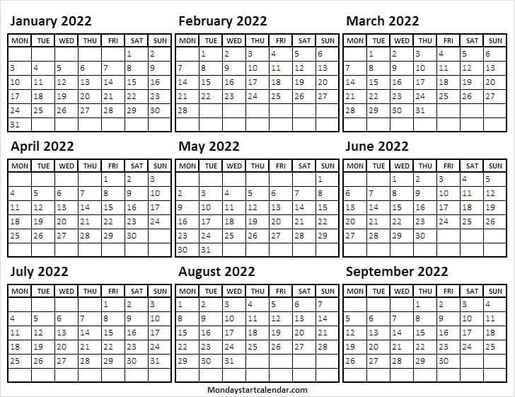 January to September 2022 Mon to Sun
