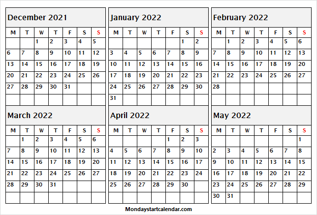 Monday Start December 2021 to Oct 2021 Calendar
