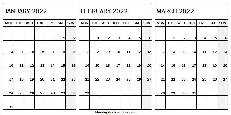 Print Free January to March 2022 Calendar