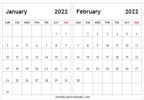 Printable Calendar for January February 2022
