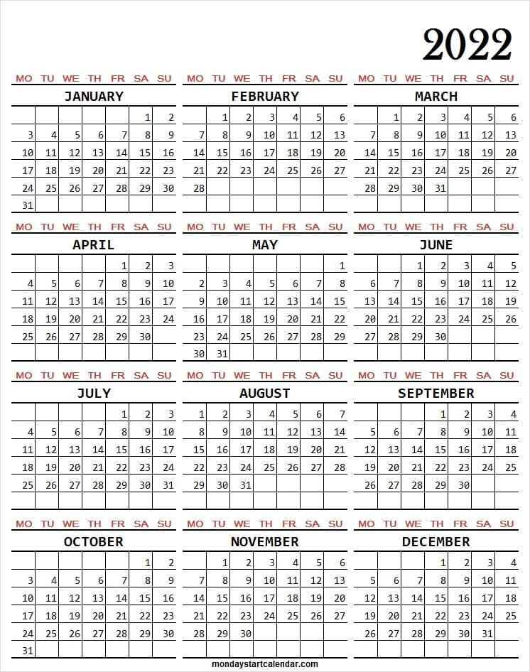 2022 Calendar Excel Format Starting Monday