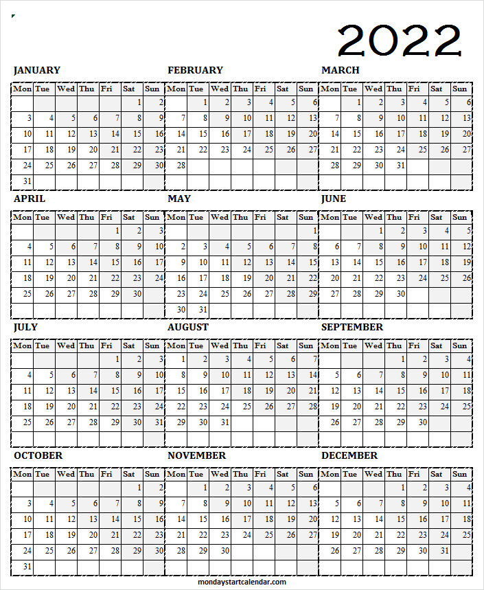 Calendar 2022 PDF Download