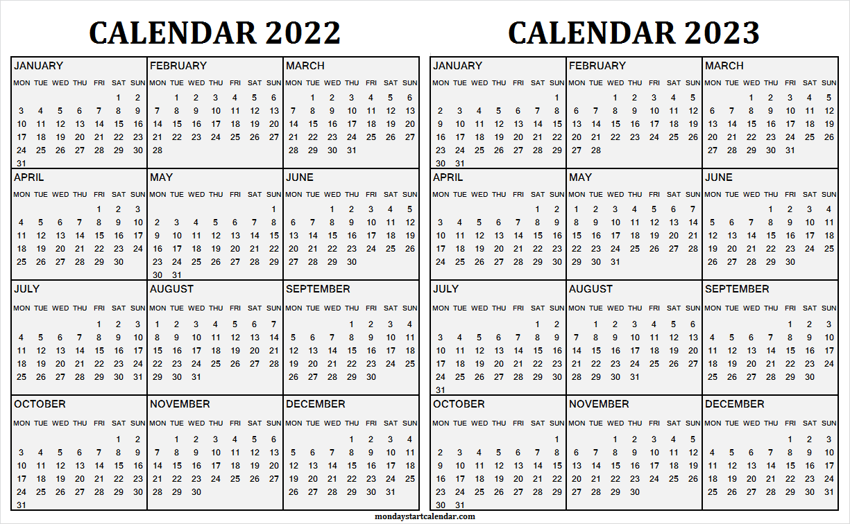 2022 and 2023 Calendar Pages