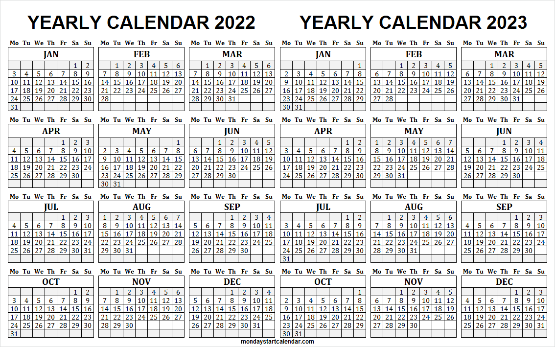 2022 and 2023 Monthly Calendar Template
