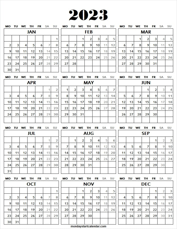 2023 Calendar All Yearly