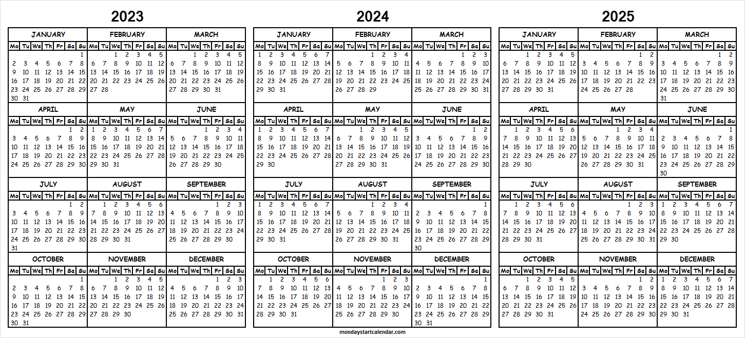 2023 and 2024 2025 Three Year Calendar on One Page.