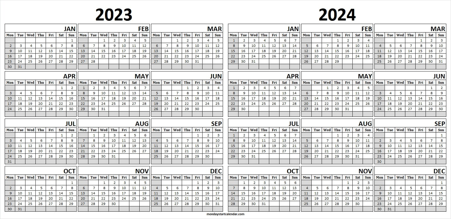 2023 and 2024 Monthly Calendar Template