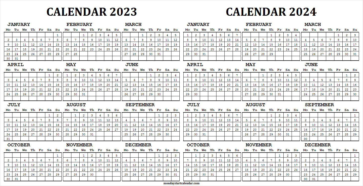2023 and 2024 School Calendar for Students