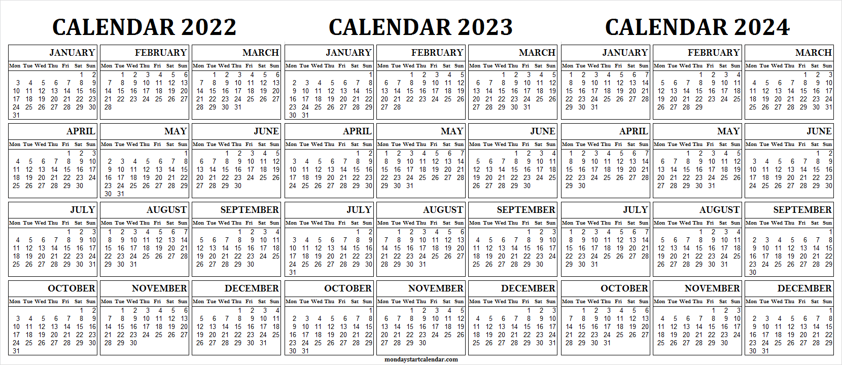Printable Calendar from 2022 to 2024