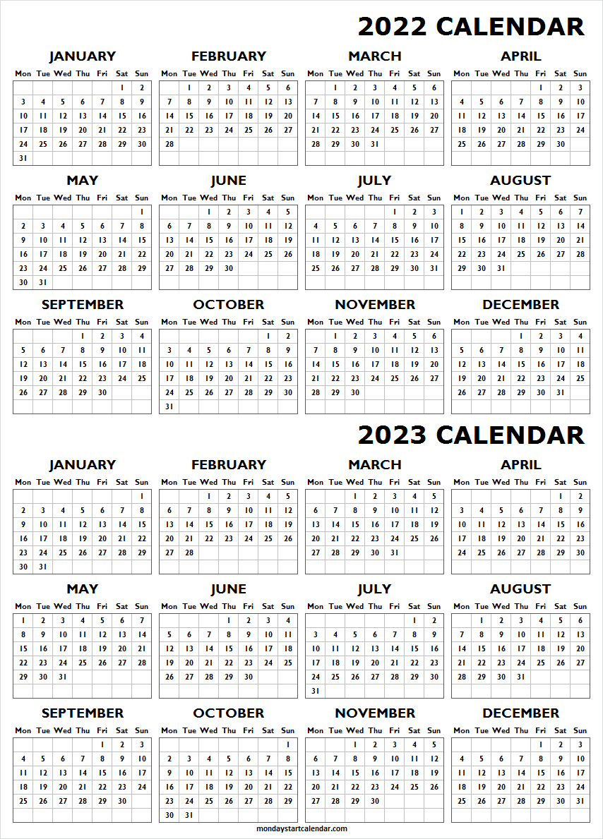 Yearly Calendar 2022 and 2023 Templates